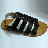Men Leather Black Color Sandal