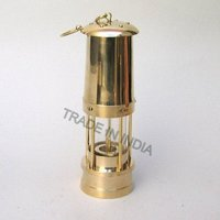 Solid Brass Glass Minor'S Oil Lamp