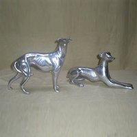 Aluminum Greyhound Dog Pair Statue