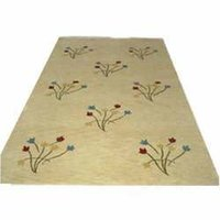 Indo Gabbeh Gold Carpet With Flowers