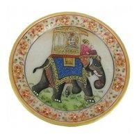 Marble Round Plate Ambabari Painting