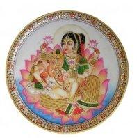 Marble Round Plate Ganesh Ji Mata And Parvati Ji Painting