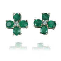 Cross Emerald Earrings