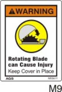 Saw Blade Cover Safety Decals