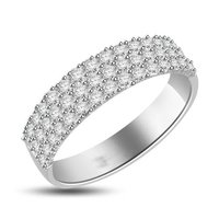 White Cz 925 Sterling Silver 3 Row Band Ring With Rhodium