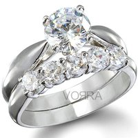 White Rhodium Plated Cz Engagement Ring In 925 Sterling Silver