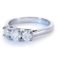 White Cz Rhodium Plated Sterling Silver Three Stone Adorable Ring