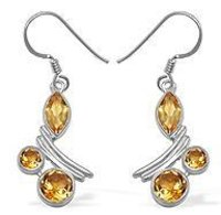3.4CTW Genuine High Finish Citrine Silver Earrings