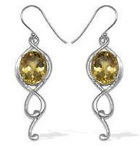 8CTW Genuine Citrine High Finish Silver Earrings