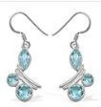 Attractive Blue Topaz Silver Earrings