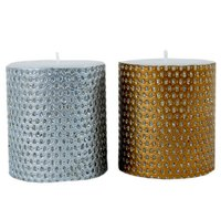 Golden And Silver Coated Candle Pair