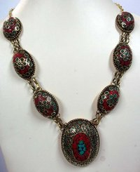 Tibetan Coral Turquoise Gemstone Necklace