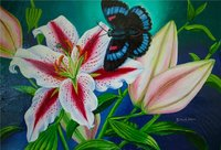 Acrylic Painting Stargazerlily Butterfly