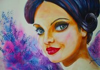 Watercolor Painting-Face Of A Girl
