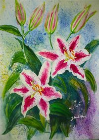 Watercolor Painting Day Lily