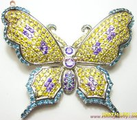 Butterfly Brass Brooch With Colorful CZ Stones