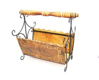 Carved Wood And Wrought Iron Rustic Magazine Basket