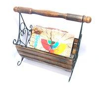 Wood And Wrought Iron Rustic Magazine Basket