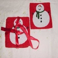 Beaded Snowmen Coasters