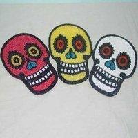 Beaded Skull Halloween Coasters