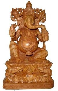 Wooden Ganesh Ji With Mouse Pair