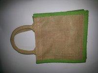 Green Border Designer Jute Shopping Bag With Handle