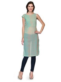 Casual Sheer Printed Pastel Green Georgette Contemporary Tunic
