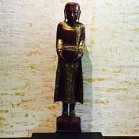 Red And Gold Wooden Monk Statue