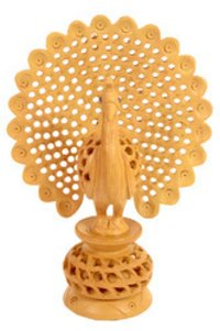 Wooden Carving Dancing Peacock