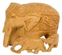 Wooden Elephant Family Floral Carving
