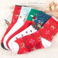 Christmas' Socks With Deer Snow Santa Claus