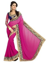Georgette Designer Saree With Full Embroidered Blouse