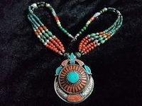 Himalayan Nepali Handmade Turquoise Coral Bead Tribal Necklace