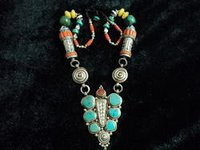 Himalayan Nepali Unique Turquoise Coral Bead Tribal Necklace