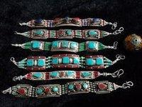 Nepali Tibetan Ethnic Tribal Turquoise / Coral Bracelet