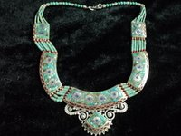 Nepali Turquoise And Red Coral Necklace