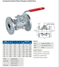 Investment Casted 3 Piece Flanged End Ball Valve