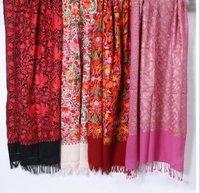 Multi Color Jamma Aari Work Embroidered Woolen Shawls