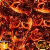 OutletDAZZLE Skull Flame No.DGDB8018 Width 0.5M Water Transfer Printing Film