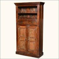 Rustic Reclaimed Wood Tall Wine Rack Liquor Storage Cabinet