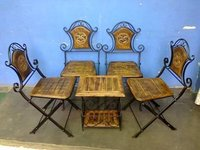 Mango Wood And Iron Table Chair (Sci 3515)