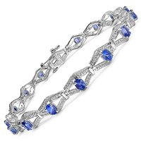 Genuine Tanzanite .925 Sterling Silver Bracelet