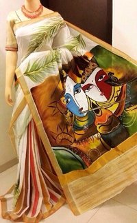 Hand Painting On Kerala Cotton Sarees