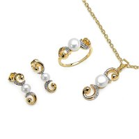 Round Pearl Gold Plated .925 Sterling Silver Necklace Set