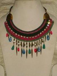Acrylic Beaded Metal Necklace