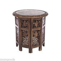 Handcrafted Carved Wood Accent Table