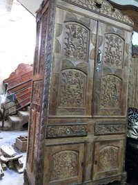 Wooden Carved Almirah Cabinet Cupboard