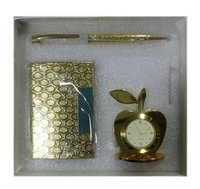 Corporate Gift Set (Crystal Pen, Business Card Holder And Table Clock)