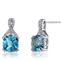 White Gold Swiss Blue Topaz Earrings