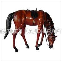 Stuffed Leather Grazing Horse
